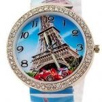 นาฬิกาข้อมือผู้หญิง นาฬิกาแฟชั่น สำหรับคนชอบสะสม นาฬิกาข้อมือ สาย Silicone อย่างดี หน้าปัด ล้อมเพชร คริสตัล สีฟ้า ลายหอไอเฟล 829094_2