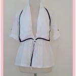 **สินค้าหมด Sale!! blouse1689 เสื้อคลุมแฟชั่นตัวยาว ผ้าหางกระรอก เอวรูด แขนสี่ส่วนอินธนู สีขาวครีม