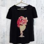 **สินค้าหมด blouse1787 เสื้อแฟชั่นผ้าชีฟองเนื้อทราย แต่งลายผู้หญิงปักมุก แขนสั้น สีดำ
