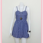 **สินค้าหมด dress2236 เดรสแฟชั่นสายเดี่ยวอกฟองน้ำซิปหลัง ผ้ายีนส์นิ่มลายหลุยส์ สีม่วง