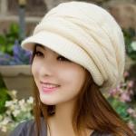 หมวกแฟชั่น หมวกไหมพรมถัก สำหรับผู้หญิง หมวกไหมพรม ใส่เที่ยว ใส่กันแดด กันร้อน สวยใส สไตล์วัยรุ่น สีครีม ไข่ไก่ 92518_5