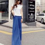 กางเกงทรงสวย แต่งผ้าชีฟอง สีน้ำเงิน ดูดีไฮโซ เก๋สุดๆ พร้อมส่ง