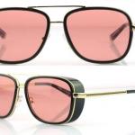 แว่นตากันแดด แบบ iron man ที่ tony stark ใส่ แว่นตา เลนส์ กรองแสง สีแดง ขาสีทอง แบรนด์จากญี่ปุ่น แว่นตากันแดด เท่ ๆ แบบปิดข้าง 881460