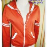 #1118 เสื้อกันหนาว เสื้อแจ๊คเก็ต สีส้ม มีฮูด