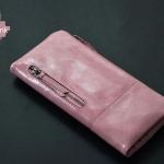 กระเป๋าสตางค์ ใบยาว ผู้หญิง กระเป๋าสตางค์หนังวัวแท้ กระเป๋าสตางค์หนัง oil wax ยิ่งใช้ยิ่งสวย หนังเงา มีดีไซน์ สีม่วง น้ำเงิน ดำ ชมพู น้ำตาล เขียว 362075