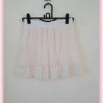 **สินค้าหมด skirt265 กระโปรงแฟชั่นงานแพลตตินั่ม ผ้าชีฟองอัดพลีทสองชั้น สีครีม เอวยืด 26-34 นิ้ว