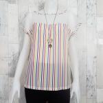 SALE!! blouse2151 เสื้อแฟชั่นไซส์ใหญ่ แขนในตัว อกซีทรู ผ้าชีฟองลายทางโทนสีขาวเหลืองแดงฟ้า