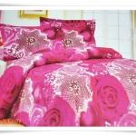 ชุดผ้าปูเตียง ผ้าปูที่นอน สีชมพูกุหลาบใหญ่ Cotton 6 ฟุต 5 ชิ้น M002