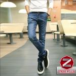 กางเกงยีนส์ผู้ชาย   ยีนส์แฟชั่นขายาว ทรงกระบอกเล็ก แฟชั่นฮ่องกง