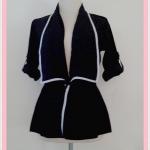 **สินค้าหมด Sale!! blouse1688 เสื้อคลุมแฟชั่นตัวยาว ผ้าหางกระรอก เอวรูด แขนสี่ส่วนอินธนู สีดำ
