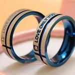 แหวนคู่ แหวนครบรอบวันแต่งงาน แหวนหมั้น แหวนแต่งงาน แหวนแทนใจ ดีไซน์ แกะลาย LOVE ONLY YOU สแตนเลส สีฟ้า ไม่เหมือนใคร แบบหรู 154912