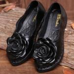 รองเท้าหุ้มส้น ผู้หญิง รองเท้าหนังแท้ รองเท้าคัทชู รองเท้าใส่เที่ยว ใส่ออกงาน รองเท้าหนังนิ่ม ดีไซน์ ดอกกุหลาบ สีดำ เรียบหรู ดูดี 270218_2