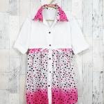 **สินค้าหมด dress1992 เดรสแฟชั่นคอปกเชิ้ตกระโปรงลายจุด กระดุมหน้า แขนสามส่วน สีชมพู