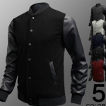 แจ็คเก็ตหนัง ผสม ผ้า Cotton Jacket สำหรับนักแข่งมอเตอร์ไซค์ ดีไซน์ ส่วนแขนเป็นหนัง เสื้อคลุมผู้ชายแขนยาว เท่ ๆ สีดำ no 18945