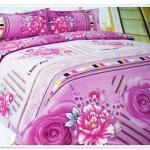 5 ฟุต 3 ชิ้น ชุดเครื่องนอน ผ้าปูที่นอน สีม่วงลายดอกไม้ b010