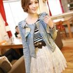 เสื้อกั๊กยีนส์ แจ็คเก็ตยีนส์ แฟชั่น เกาหลี น่ารัก ๆ เสื้อคลุมยีนส์ แขนยาว สินค้านำเข้า no 39996