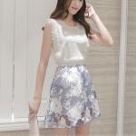 Dress4195 เดรสลูกไม้สีขาวตัดต่อกระโปรงผ้าไหมแก้วลายดอกไม้ เอวสม็อคยางยืด มีซับในอย่างดีทั้งชุด งานสวยหรูใส่แล้วดูไฮในราคาเบาๆ งานดีทรงดี ใส่เมื่อไหร่ก็สวย