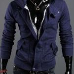 เสื้อกันหนาวผู้ชาย เสื้อคลุมผู้ชายแขนยาว มีฮูด เสื้อ Jacket ซิปหน้า เนื้อผ้าใส่สบาย มีกระเป๋าข้าง ดีไซน์ 2 ชั้น สีน้ำเงิน กรมท่า 67516_3