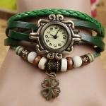 นาฬิกาข้อมือผู้หญิง นาฬิกา สายหนังถัก แบบสร้อยข้อมือ ห้อยจี้ ดอกไม้ ดอกโคลเว่อร์ สัญลักษณ์ ของความสุข ความโชคดี สีเขียว 36588_5