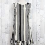 SALE!! dress3506 ชุดเดรสน่ารัก แต่งโบว์ด้านหลัง ชายระบาย ผ้าไหมอิตาลีเนื้อนิ่มลายริ้ว สีเหลือง