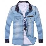 เสื้อเชิ้ตยีนส์ผู้ชาย เสื้อยีนส์แขนยาว เสื้อยีนส์ ฟอก ออกแบบ คอปก และ ช่วงปลายแขน ลายสก๊อต มีกระเป๋าบน สีฟ้า เรียบร้อย 68097