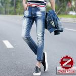 กางเกงยีนส์ผู้ชาย | ยีนส์แฟชั่นขายาว ลายขาดสั้น2จุด แฟชั่นเกาหลี