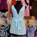 Sale!! blouse1598 เสื้อแฟชั่นตัวยาว ผ้านิ่มลายจุดวิ้ง คอวี โบว์เอว สีฟ้า