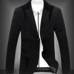 เสื้อสูท ผู้ชาย เสื้อ Jacket นอก แขนยาว ผ้า 2 ชั้น เสื้อนอก คอปก ออกแบบ ปกลูกฟูก มีกระเป๋าด้านใน สีดำ เสื้อคลุม ผู้บริหาร 83054_1