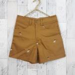 Shorts303 กางเกงขาสั้น กระดุมซิป ผ้ายีนส์เนื้อนิ่มปักลายกวาง สีน้ำตาลทอง