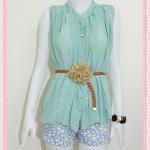 **สินค้าหมด blouse1811 เสื้อแฟชั่นไซส์ใหญ่ ผ้าชีฟอง คอจีน กระดุมหน้า แถมเข็มขัดหนังหัวดอกไม้ สีเขียวพาสเทล