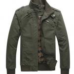 เสื้อแจ็คเก็ต ผู้ชายแขนยาว ผ้ายีนส์ คอตต้อน ผสม Polyester ผ้า 2 ชั้นอย่างดี สีเขียว Army ใช้งานนาน ทนทาน ดีไซน์ แฟชั่น ยุโรป คอตั้ง แบบปิด 224503