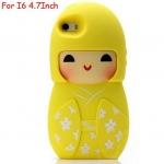 เคส iphone 6 ขนาด 4.7 นิ้ว เคสกิโมโน ตุ๊กตา จากประเทศญี่ปุ่น เคสซิโลโคน อย่างดี ตุ๊กตาใส่ชุดกิโมโน สีเหลือง เนื้อแตงโม สวยมากค่ะ 546970_4