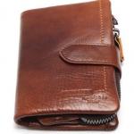 กระเป๋าสตางค์ ผู้ชาย หนังวัวแท้ สีน้ำตาล หนังมัน Oil wax หนังนิ่ม สุดหรู กระเป๋าสตางค์ใบสั้น แบบมีซิป แยกช่องใส่บัตรออกจากกันได้ 723660
