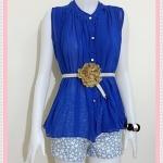 **สินค้าหมด blouse1812 เสื้อแฟชั่นไซส์ใหญ่ ผ้าชีฟอง คอจีน กระดุมหน้า แถมเข็มขัดหนังหัวดอกไม้ สีน้ำเงิน รอบอก 46 นิ้ว ความยาว 25 นิ้ว
