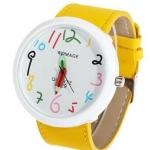 นาฬิกาข้อมือ ผู้หญิง ผู้ชาย ใส่ได้ สายหนัง ลายกราฟฟิค Paint รูปดินสอ ลายการ์ตูน ตัวเลขน่ารัก สีเหลือง ของขวัญให้แฟนสุดเก๋ no 824387_3