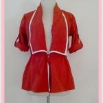 **สินค้าหมด Sale!! blouse1686 เสื้อคลุมแฟชั่นตัวยาว ผ้าหางกระรอก เอวรูด แขนสี่ส่วนอินธนู สีส้มอิฐ