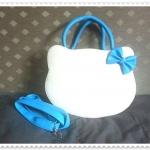 กระเป๋าหน้าแมวผูกโบว์ สายสีฟ้า