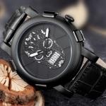 นาฬิกาข้อมือ ผู้ชาย นาฬิกาสายหนังแท้ นาฬิกาแบบร็อค ๆ นาฬิกาข้อมือ หน้าปัดลายหัวกะโหลก แบบเท่ ๆ สีทอง สีดำ สวยหรู มีดีไซน์ 157659