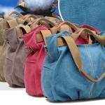 กระเป๋าถือ ผ้า Canvas อย่างดี กระเป๋าถือผู้หญิง สามารถสะพายข้างได้ ทรงถุง จับจีบที่ก้นกระเป๋า ดีไซน์เก๋ มีสไตล์ สีฟ้า ชมพู ดำ เทา น้ำตาล 7749197