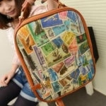 กระเป๋าสะพายหลัง ทรงสี่เหลี่ยม นำเข้าญี่ปุ่น สีน้ำตาล Travel preb1003
