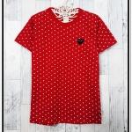 blouse3307 เสื้อยืดแฟชั่นงาน Play คอกลม แขนสั้น ผ้า Cotton เนื้อดีลายจุด สีแดง