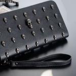 กระเป๋าสตางค์ แนวร๊อค กระเป๋าสตางค์พั้งค์ ปักหมุด หัวกะโหลก รอบใหม่ หนัง Pu กันน้ำ กระเป๋าสตางค์ใบยาว ผู้หญิง ผู้ชาย ใช้ได้ 487484