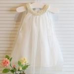เดรส เด็กผู้หญิง ชุดราตรี ชุดออกงาน สำหรับเด็ก เดรสแขนกุด น่ารัก ปักมุข เลี่ยม รอบคอ และ ชุด เดรสออกงาน สีขาว น่ารัก คุณหนู สุด ๆ 581438