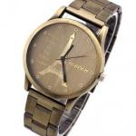 นาฬิกาข้อมือ สายโลหะ สี บรอนซ์ทอง สไตล์วินเทจ หน้าปัด เป็นรูป หอไอเฟล กรุงปารีส ของขวัญให้แฟน สุดหรู no 647281