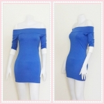 **สินค้าหมด dress2269 เดรสแฟชั่นเปิดไหล่ แขนสามส่วนปลายขาว ผ้ายืดเนื้อดี สีน้ำเงิน