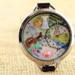 นาฬิกาข้อมือ Diy นาฬิกาข้อมือผู้หญิง สายหนัง แต่ง Display 3 มิติ ด้านใน เป็น รถฟักทอง รถม้า ซิลเดอเรล่า นาฬิกาแฟชั่น สุดน่ารัก 581402