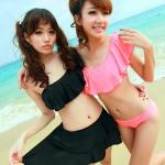 พร้อมส่ง - สีดำ - ชุดว่ายน้ำบิกินี่ 3 ชิ้น แต่งระบายน่ารักสไตล์สาวเกาหลี ขนาดเลือกด้านในเลยค่า