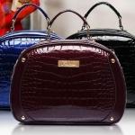 กระเป๋าถือผู้หญิง กระเป๋าหนังเงา ขนาดกลาง ถือออกงาน หรู กระเป๋าหนังแก้ว สวยหรู ลายหนังจรเข้ สีดำ สีน้ำเงิน ดูไฮโซ สุด ๆ 833520