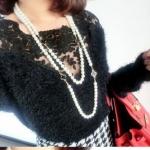 เสื้อคอกว้าง เสื้อแฟชั่น ผู้หญิง แบบขนสัตว์ เสื้อแขนยาว ดีไซน์ ช่วงคอ เป็น ซีทรู ลูกไม้กุหลาบ สีดำ เสื้อไฮโซ ใส่เที่ยวกลางคืน งานราตรี สุดหรู 13078_1