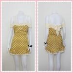 **สินค้าหมด dress2223 เดรสแฟชั่นสายเดี่ยวเว้าไหล่ โบว์หลัง ชายระบาย ผ้าชีฟองลายจุด สีเหลืองมัสตาร์ด